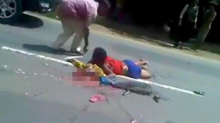 【閲覧注意】夫と息子が死んで妻だけが生き残った事故現場の映像。