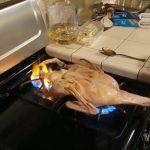 コンロを2つ使ってアヒルを丸焼きにする映像。