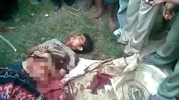 【閲覧注意】切り裂かれた腹から内臓が飛び出した男性の死体映像。