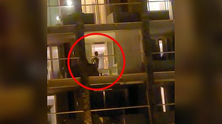 ベランダでセックスする様子をバッチリ撮影されてしまった映像。