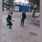 「ボクシングやってました」感を出して相手を威嚇してた男がワンパンKOされる映像。