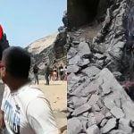 崖から男性が転落する瞬間を偶然撮影した映像。