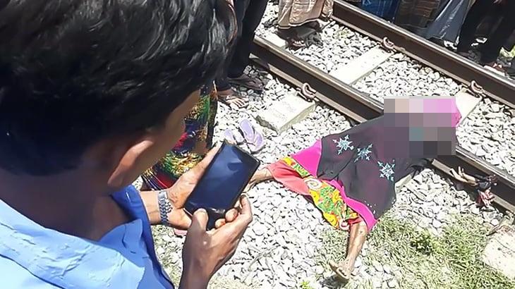 【閲覧注意】電車に胸を綺麗に切断されてしまった女性の死体映像。