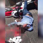 【閲覧注意】頭を潰されて肉片が飛び散ったバイカーのグロ動画。