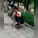 【閲覧注意】路上で子犬を食べ続けるイカれ男の映像。