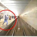 地下鉄ホームで飛び込み自殺する男性が電車に激突する運転席視点の映像。