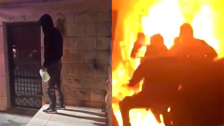 警察官に取り押さえられそうになった男が身体に火を放つ映像。