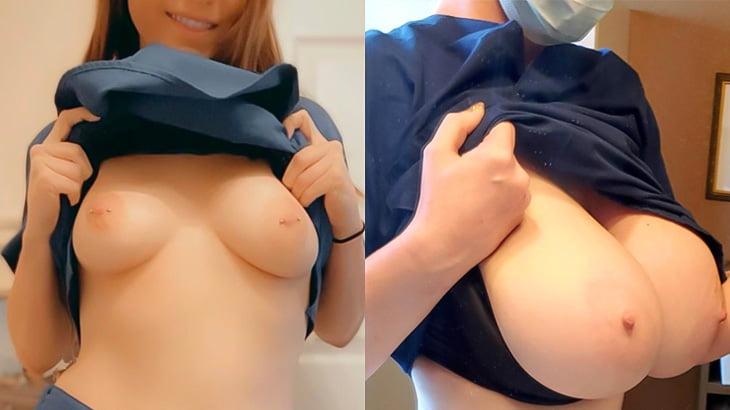 【エロ画像33枚】オッパイを晒しちゃう女性看護師たちの画像集 Part.1