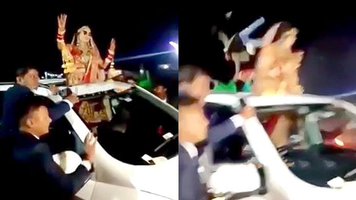 結婚式のパレード中に猛スピードの車に跳ね飛ばされる映像