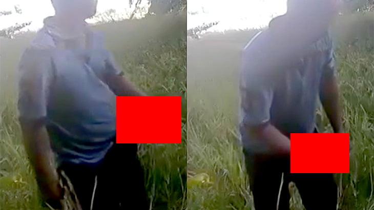 チンコがめちゃくちゃでかい男が草むらでオナニーして射精する映像