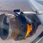 爆発して損傷したけどギリ動いてるジェットエンジンを飛行機の窓から撮影した映像