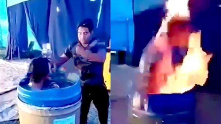 水が入ったドラム缶に潜って火をぶっかけられて慌てる男の映像