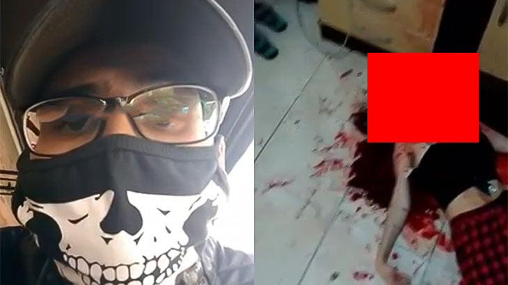 【閲覧注意】妻を殺したあと笑いながら撮影するイカれた男の映像