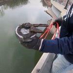 川に磁石を投げ入れたら殺人に使われたような鈍器とか銃とか取れちゃった映像