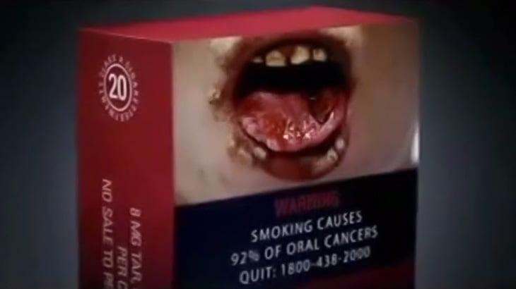 放送禁止された禁煙喚起のテレビCM映像。