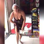 店員にマスクしてないことを指摘された女がブチ切れながらパンツを脱いで顔に被る映像。