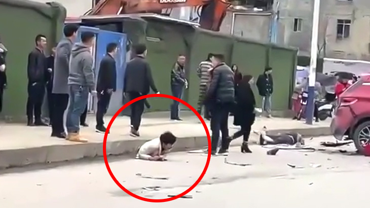 【微閲覧注意】事故現場で撮影された下半身が無いけど生きてる男の映像。
