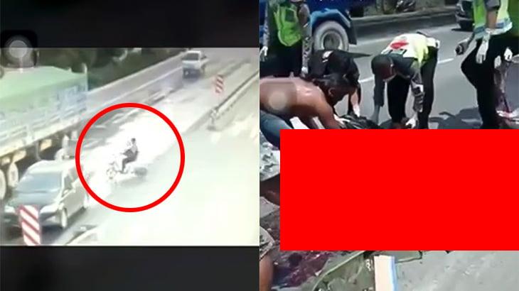 【閲覧注意】トラックに轢かれて身体が破裂する瞬間と死体を回収するグロ動画。