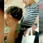 バス車内で座る女性の肩にチンコを押し当てるオッサンの映像。