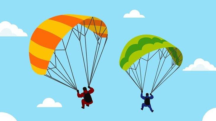 パラグライダーで着陸しようとしたら右脚折れちゃった1人称視点映像