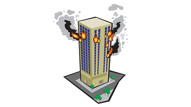 【閲覧注意】火災が発生した高層ビルから人が飛び降りて地面に叩きつけられる瞬間(動画)