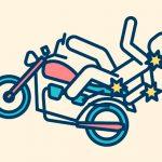 【閲覧注意】バイカーが転倒 → 標識ポールに激突して左脚切断・・・(動画)