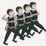 4人の軍人さんによる行進、揃ってないにも程がある(動画)
