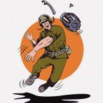 手榴弾を投げる → 爆発で敵兵が吹き飛ぶ(動画)