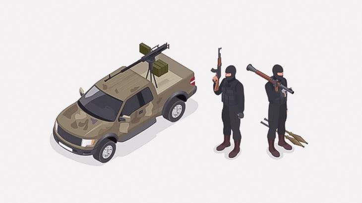 機関銃をぶっ放していた男、爆破で宙を舞ってしまう(動画)