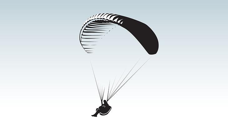 パラグライダーで飛行中、岩に激突してしまう1人称視点映像