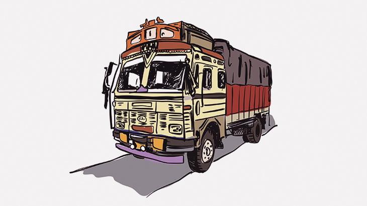 走行中のトラックの外側をグルっと回って戻ってくるドライバー(動画)