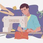 フライト時間を利用してミシンで裁縫する男(動画)