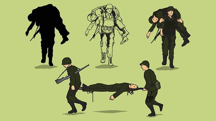 負傷者を抱えて走る男性、スナイパーに撃たれてしまう(動画)
