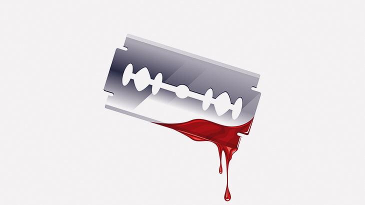 【閲覧注意】自分の喉の皮膚をカミソリ刃で切り取る男(動画)