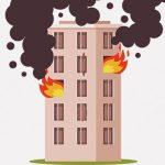 火災が起きた部屋の窓から外に出た女性、落ちてしまう・・・(動画)