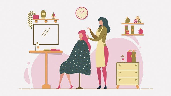 美容院の鏡で自分のオッパイとお尻を確認する女さん(動画)