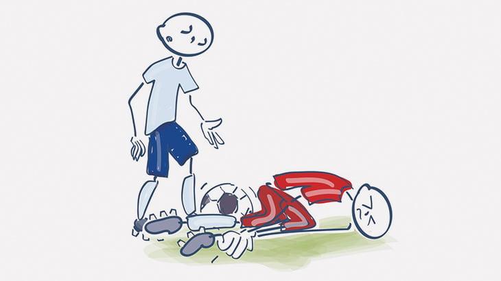サッカー選手「足痛いよー!痛いよー!」→ すくっと立ち上がる(動画)