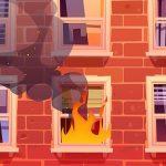 火事が起きた部屋の窓から飛び降りる人々(動画)