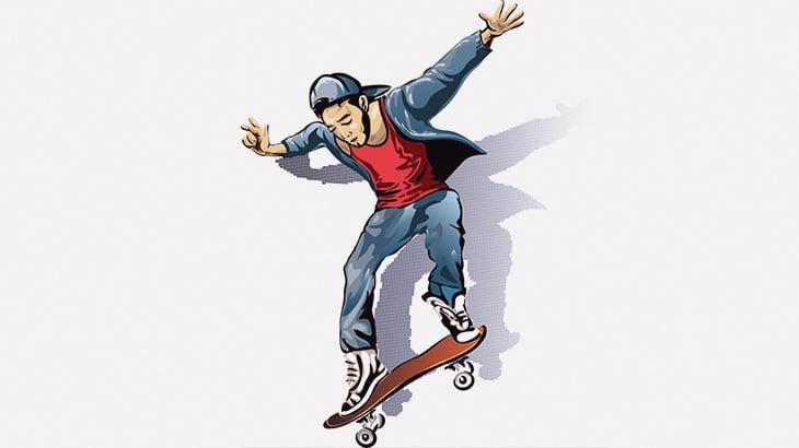 階段の手すりを滑り落ちるスケボーの男、電柱に激突して失神(動画)