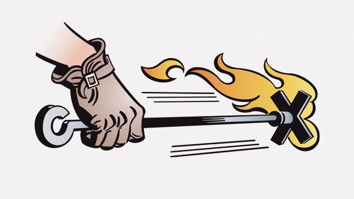 熱した鉄で自分の身体に烙印してもらう男(動画)