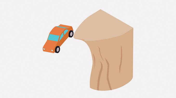 サイドブレーキをかけずに崖ギリギリに駐車した車、崖下に落ちてしまう(動画)