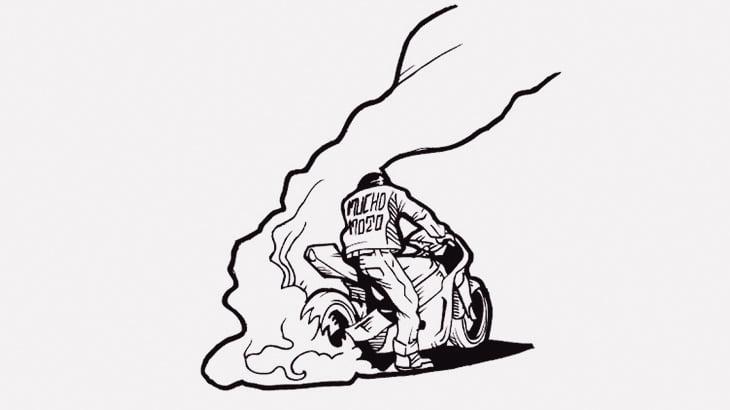 バイクの後輪をぶん回していた男、失敗(動画)