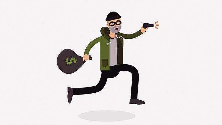 強盗の男、間違って自分を撃って死亡・・・(動画)
