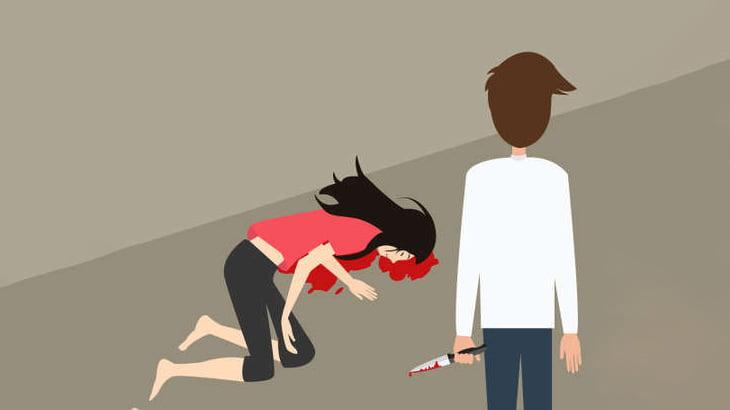 元夫にナイフで刺されてしまう女性(動画)
