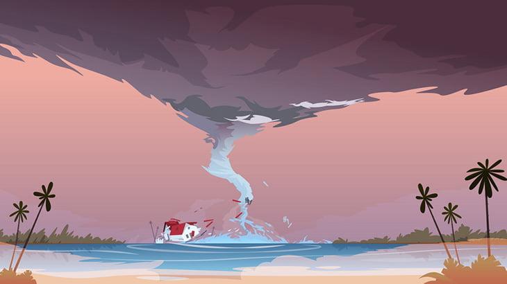 ビーチで遊んでいたお客さん達、突如発生した竜巻に巻き込まれてしまう(動画)