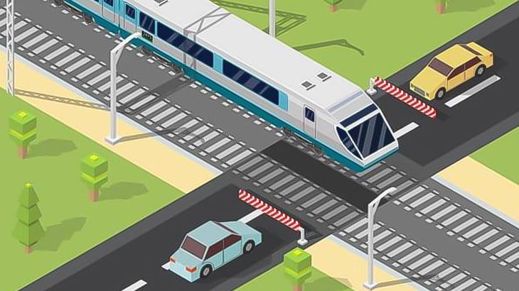 車両運搬していたトラック、踏切で立ち往生して電車に粉砕される(動画)
