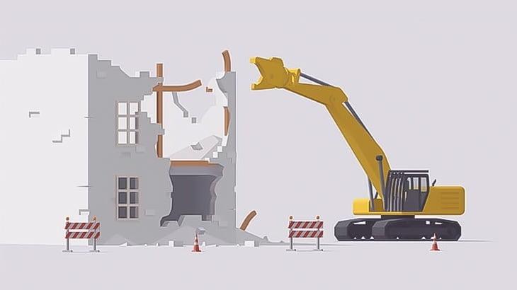 解体中のビルが突然倒壊。車数台が潰されてしまう(動画)